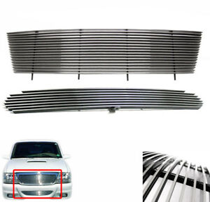 1998 1999 2000 Ford Ranger Polished 2pcs Upper Bumper Lower Billet Grille Combo
