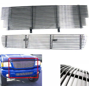 Ford 2001 2003 Ranger Xlt 4wd edge Polished Upper lower Bumper Billet Grille Set