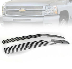 2007 2013 Chevy Silverado 1500 Main Top Upper Billet Grille Grill Insert 2pc Set