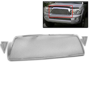 Toyota 2005 2010 Tacoma Chrome 3pcs Main Upper Mesh Grille Stainless Steel Grill