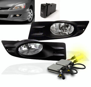 2006 2007 Honda Accord Ex Lx Coupe Chrome Front Bumper Fog Lights Lamp 3000k Hid