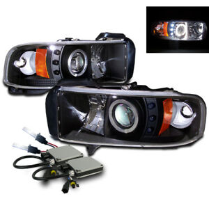 1994 2001 Dodge Ram Projector Halo Led Head Light Black W 8000k Hid Kit Pair L R