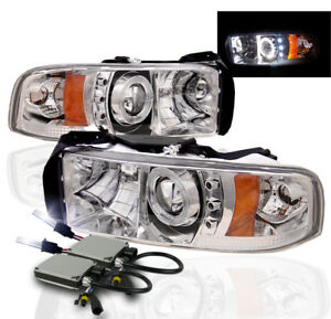 1994 2001 Dodge Ram Projector Halo Led Headlights Chrome 10000k Hid Kit Pair L R