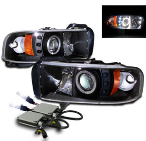 1994 2001 Dodge Ram Projector Halo Led Headlight Black W 10000k Hid Kit Pair L R