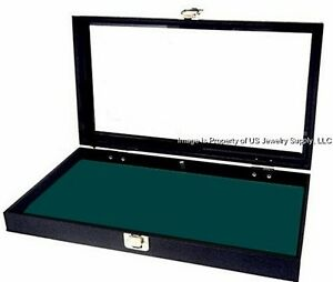 1 Glass Lid Key Lock Dark Green Pad Display Box Case Medals Pins Jewelry Knife