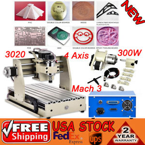 4 Axis Cnc 3020 Router Engraver Machine Mill Drill 300w Spindle Motor 3d Cutter
