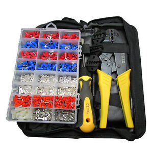 Ratchet Crimping Tool Crimper Plier Pre insulated Terminals Assortment Set Kit
