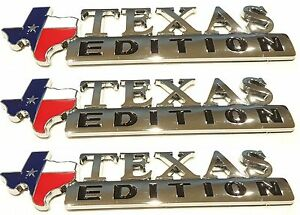 Three Texas Flag Edition Emblems Badge For Chevy Ford Truck Universal Stick On