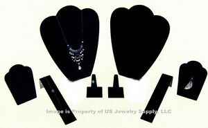 8 Piece Black Velvet Jewelry Display Set For Presentation Or Photography Bv3