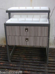 Grey Retail Merchandise Display Stand Two Tier Table