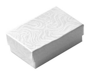 100 Small White Swirl Cotton Filled Jewelry Gift Boxes 1 7 8 X 1 1 4 X 5 8