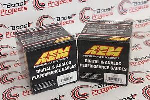 Aem 2 Gauges Combo Set Oil Temperature Uego 4 9lsu Wideband Air Fuel Ratio
