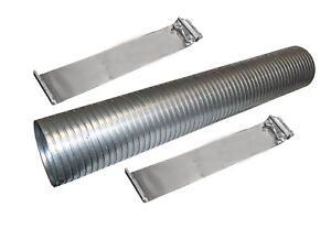 24 Galvanized Flexible Exhaust Tubing 4 Diameter Flex Pipe With 2 Band Clamps