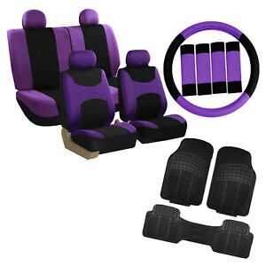Purple Black Car Seat Covers For Auto W Steering Cover Belt Pads Floor Mats