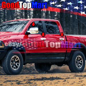 For Dodge Ram 1500 Quad Cab 2009 2015 Chrome Covers Set Full Mirrors 4 Doors W o