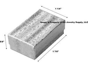 Wholesale 200 Small Silver Cotton Fill Jewelry Gift Boxes 1 7 8 X 1 1 4 X 5 8