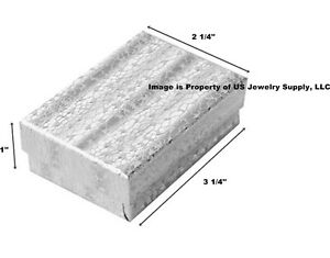 Lot Of 100 Silver Cotton Filled Jewelry Packaging Gift Box 3 1 4 X 2 1 4 X 1