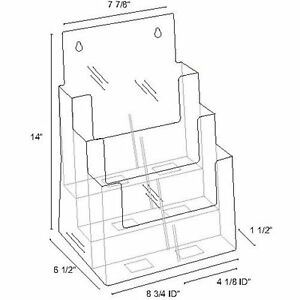 Azm Three Tier Acrylic Multi Compartment Large Brochure Display Holder 4 Pack