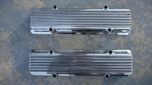 Key Stone Sbc Rare Race Cast Finned Valve Covers Chrome Staggard Bolts Vintage