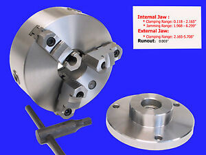 6 3 jaw Reversible Jaw Chuck With 1 1 2 X 8 Adapter