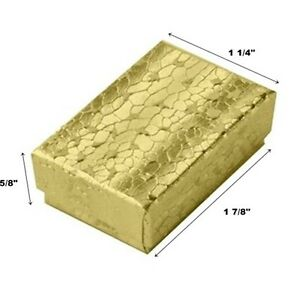 Wholesale 200 Small Gold Cotton Filled Jewelry Gift Boxes 1 7 8 X 1 1 4 X 5 8