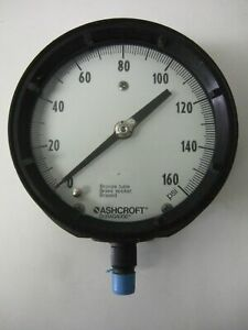 Ashcroft Duragague 0 160 Psi Gauge Pressure Gage Bronze Tube Brass Socket