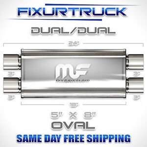 Magnaflow High Flow Performance Muffler 5x8x18 Oval 3 In Out Dual Dual 12469
