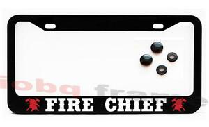 Fire Chief Firefighter Fire Man Black License Plate Frame Screw Caps
