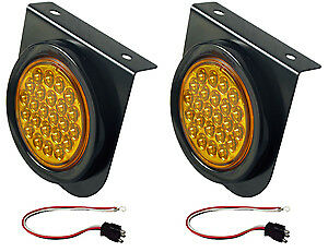 4 Round Led Amber Stop Tail Turn Light With Mounting Bracket