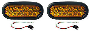 2 Amber 6 Oval Stop Tail Turn Light Kits Led 24 Diode