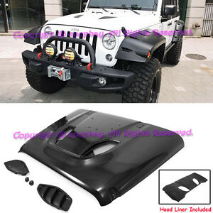 Fit 07 17 Jeep Jk Wrangler 10th Anniversary Hard Rock Style Front Rubicon Hood