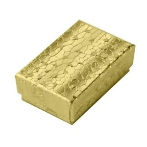 100 Gold Small Cotton Filled Jewelry Packaging Gift Boxes 1 7 8 X 1 1 4 X 5 8