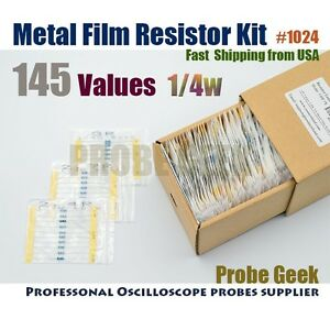 145 Values Total 10pcs Each 1 1 4w Metal Film Resistor Assortment Kit 1024