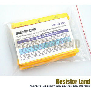 600pcs 30value 20pcs Each 1 1 4w Metal Film Resistor Assortment Kit