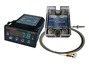 12v Dc 1 32din Pid Temperature Controller Blue 25a Ssr K Thermocouple