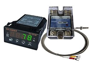 12v Dc 1 32din Pid Temperature Controller Green 25a Ssr K Thermocouple