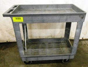 Rubbermaid Service Cart Rcp9t6600gra 2 Shelf Cart 400 Cap 9t6600 Gray