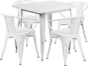 31 5 Industrial White Metal Indoor outdoor Restaurant Table Set W 4 Arm Chairs