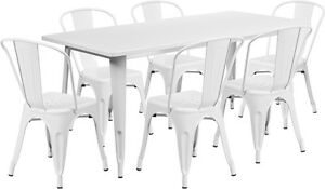 31 5 X 63 Industrial White Metal Outdoor Restaurant Table Set W 6 Chairs