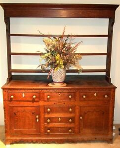 English Welsh Dresser 1 4 Sawn Oak Rare Scalloped Skirt Bone Ebony C 1725