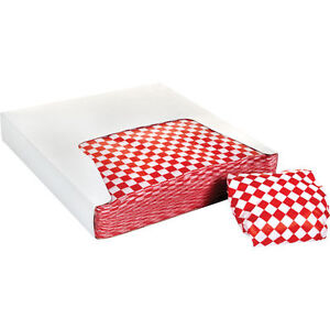 Restaurant Deli Paper Food Basket Liner Wrap 12 x12 Red Checkered 2000 Ct