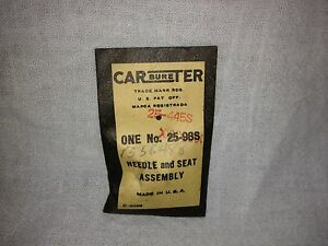 Studebaker Carter Carburetor Needle And Seat Nos 1556488 Items 2249