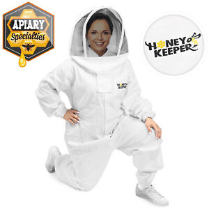Professional Cotton Full Body Beekeeping Suit W Supporting Veil Hood Large