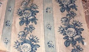 French Antique C1870 Blue Rose Old Chintz Fabric Textile Quilters Home Dec