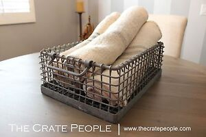 Zinc Wire Baskets Vintage Industrial Metal Wire Bins Factory Crates
