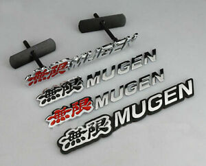 Black Red Alloy Mugen Grill Badge Car Sticker Rr Rear Decal Emblem For Honda