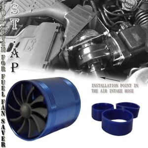 2 5 Inch Tornado Turbonator Intake Dual Fan Gas Fuel Saver Supercharger Blue
