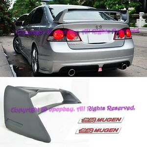 Fit 06 11 Civic Csx 4dr Sedan Jdm Mugen Rr Abs Spoiler Wing Fd2 Fa2 W Red Emblem