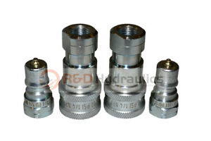 2 Sets Of 1 4 Iso 7241 b Hydraulic Quick Disconnect Couplers