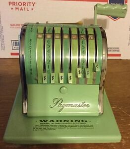 Paymaster Check Writer Embosser S 1000 8 Position W key Vintage Excellent Cond